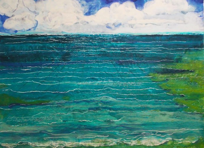 Deborah Martin- Green Algae,  Encaustic on paper mounted canvas