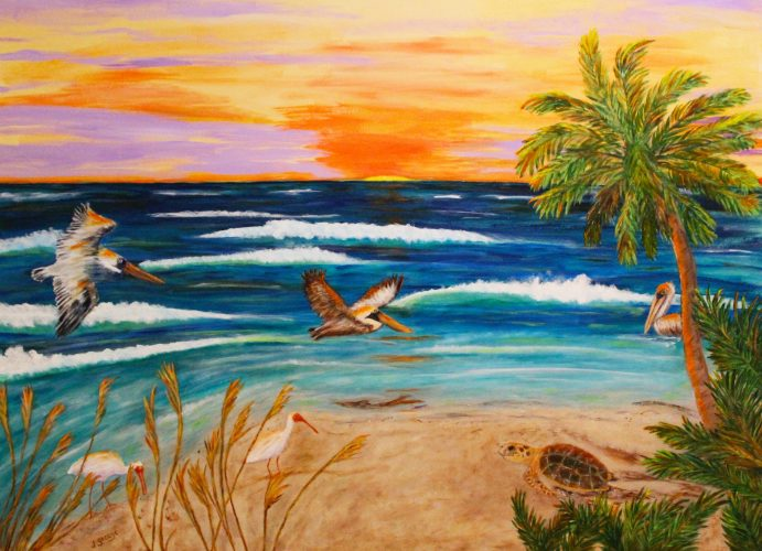 Janet George- Sunrise at Fort Myers Beach, Acrylic