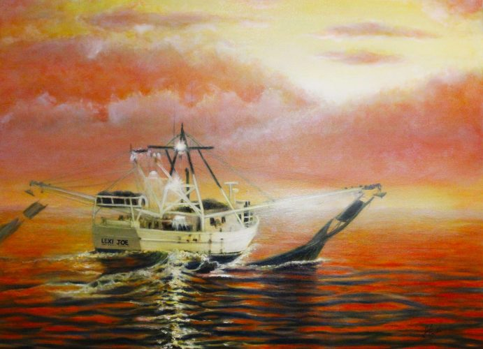 Julie Griffin- Red Skies at Night Sailors Delight, Oil