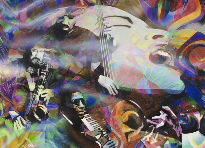 A montage of jazz artists (Billy Holiday, Thelonious Monk, Louis Armstrong, and others) expressing the ryhthmic, colorful, emotional, and abstract qualities of the music.